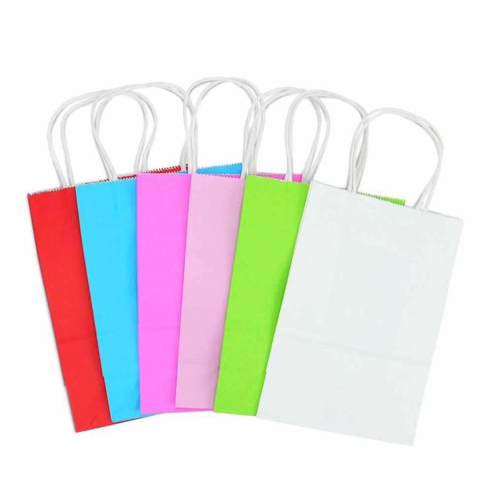 Bolsas de papel de colores para regalo con asas blancas