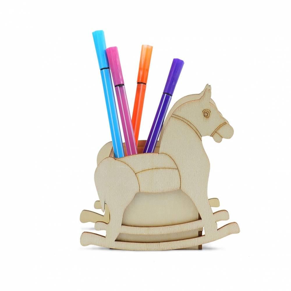 Portalápices infantiles de madera para pintar caballo