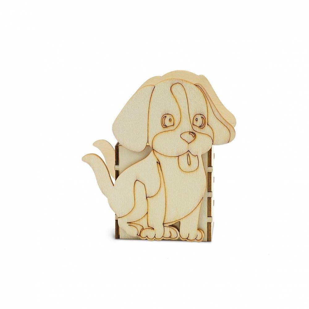 Portalápices originales de madera para pintar perrito