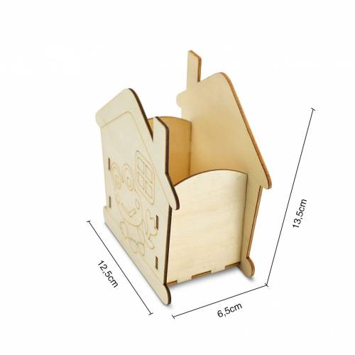 Portalápices madera para pintar casita de rana