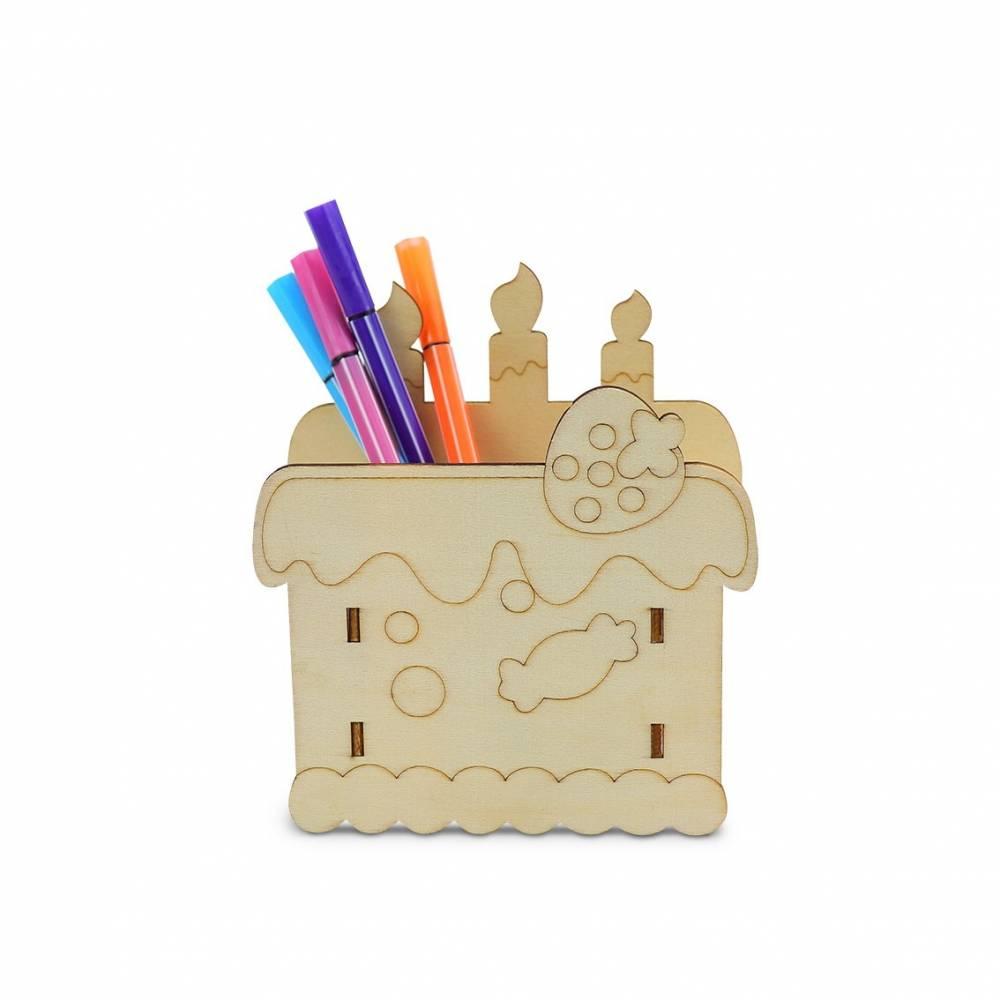 Portalápices madera para pintar forma tarta de cumpleaños