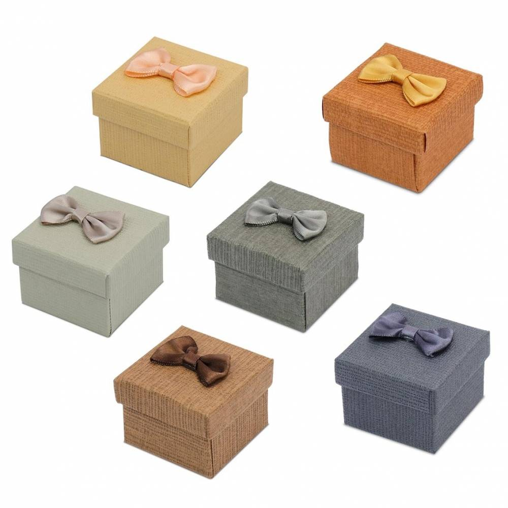 Caja de regalo para anillo lisos con lazos