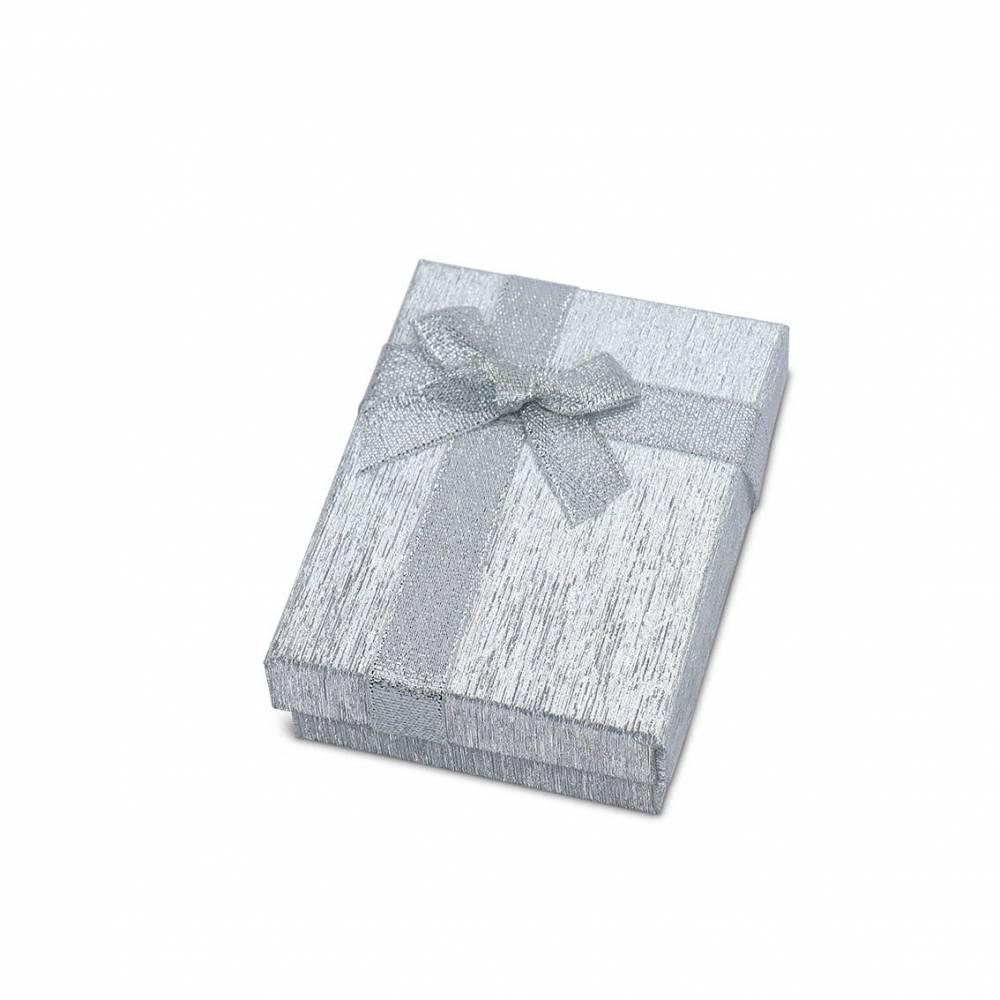 Caja regalo brillante dorado, plata con lazo