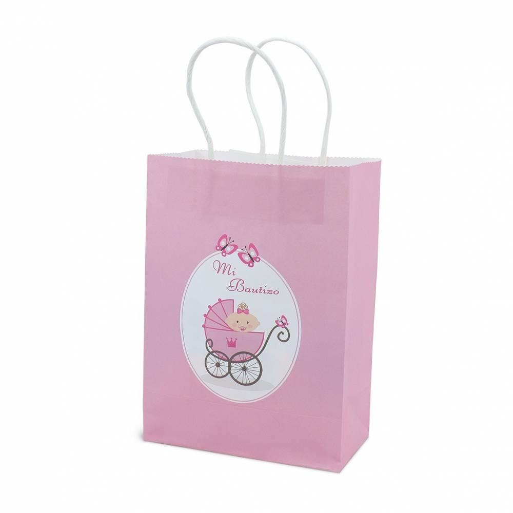 Bolsas rosa para detalles de bautizos para niñas
