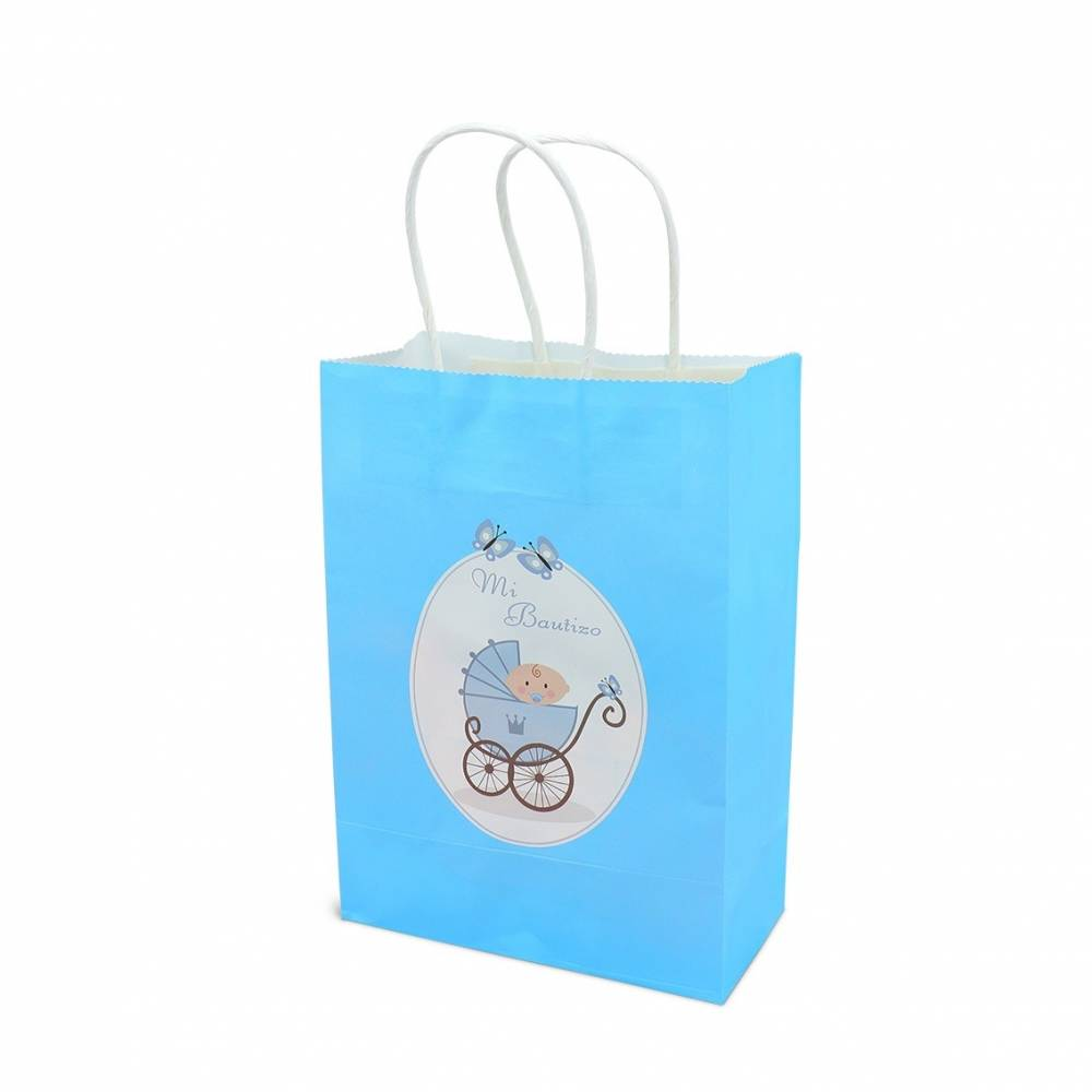 Bolsas de regalo azul para bautizos para niños