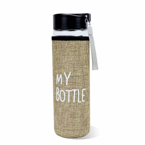 Botella de agua de cristal con funda y tapa tamaño grande 500ml
