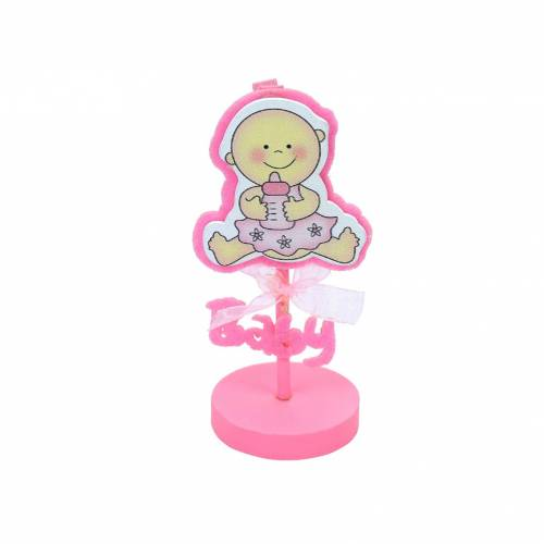 Pinza portafotos bebe niña rosa para bautizo
