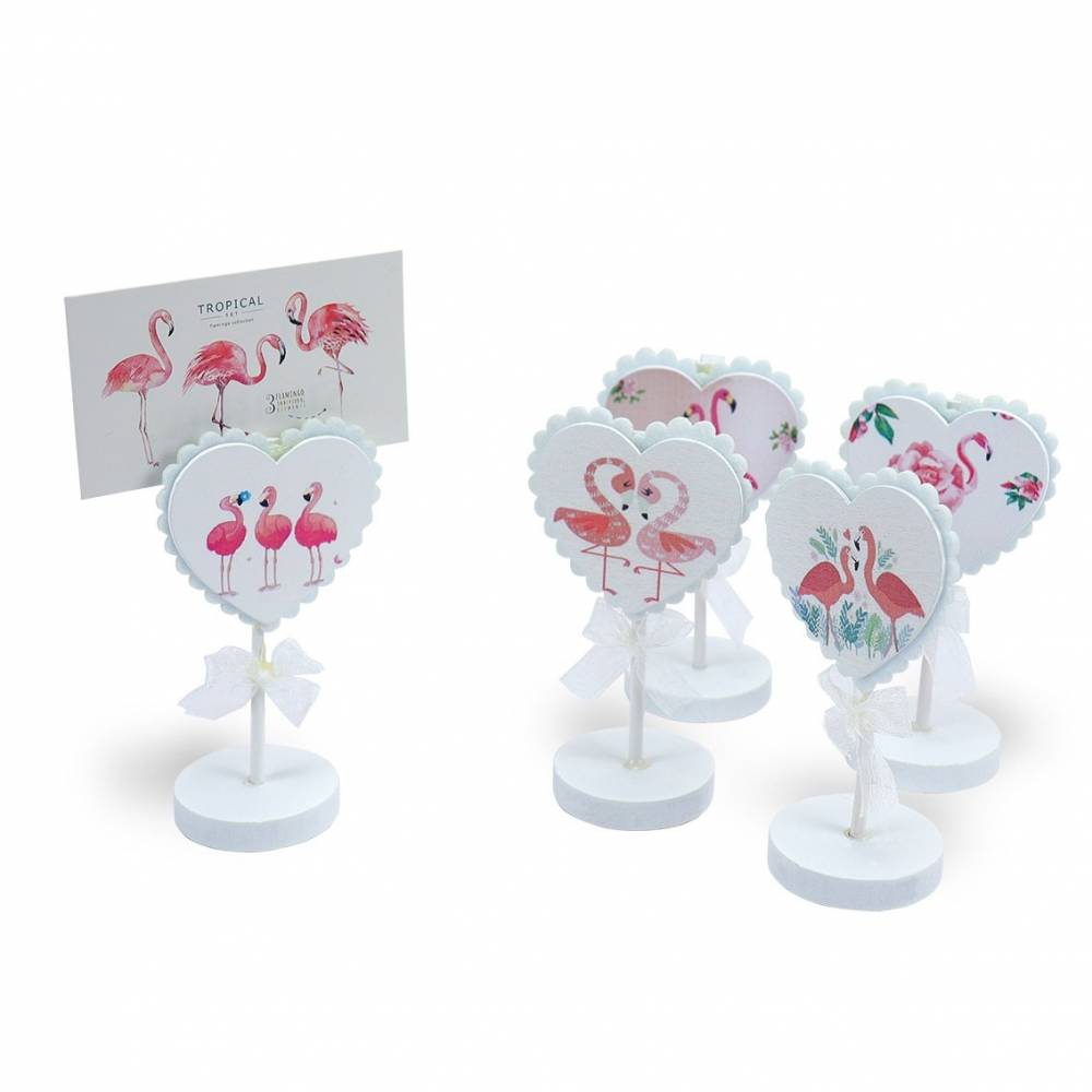Portafotos de flamencos con pinza para regalos boda