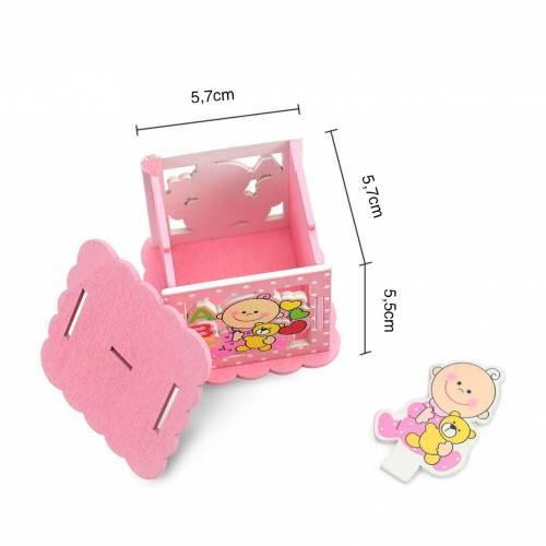 Caja de madera para regalo de bautizo de niñas