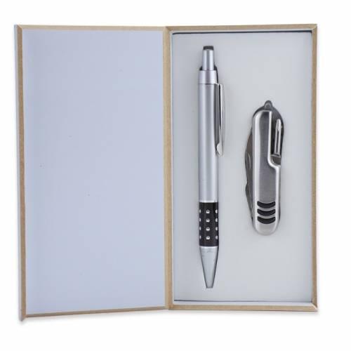 Bolígrafo y navaja en estuche