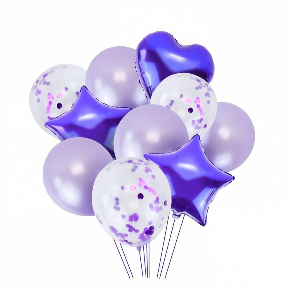 Conjunto de 10 globos en tonos morados