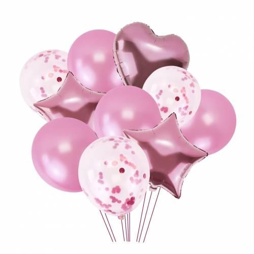 Conjunto de 10 globos para fiestas en color rosa