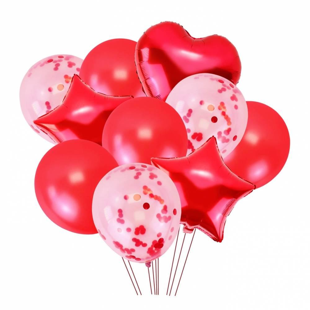 Conjunto de 10 globos rojos para fiestas