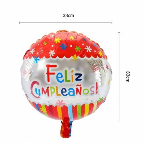 Globo metálico con mensaje feliz cumpleaños