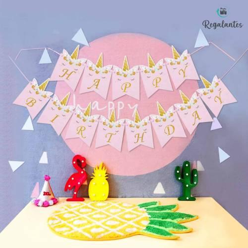 Juego de banderines para cumpleaños con diseño de unicornio
