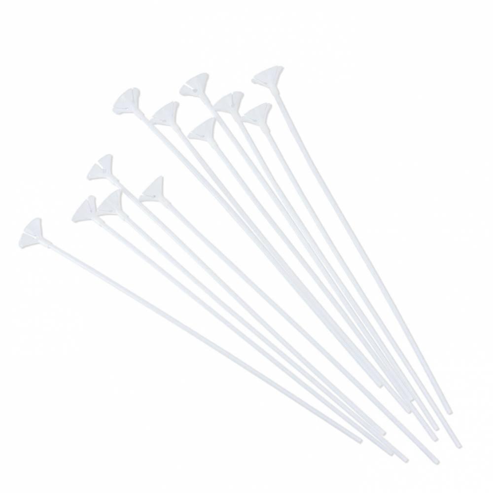 Soporte con palo blanco para globos 12uds.