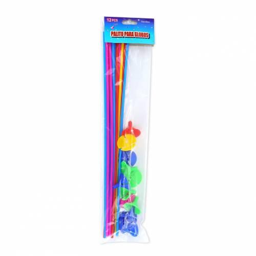 Soporte con palo de colores para globos 12uds.