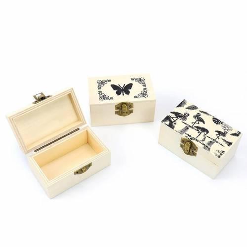 Caja de madera con dibujos