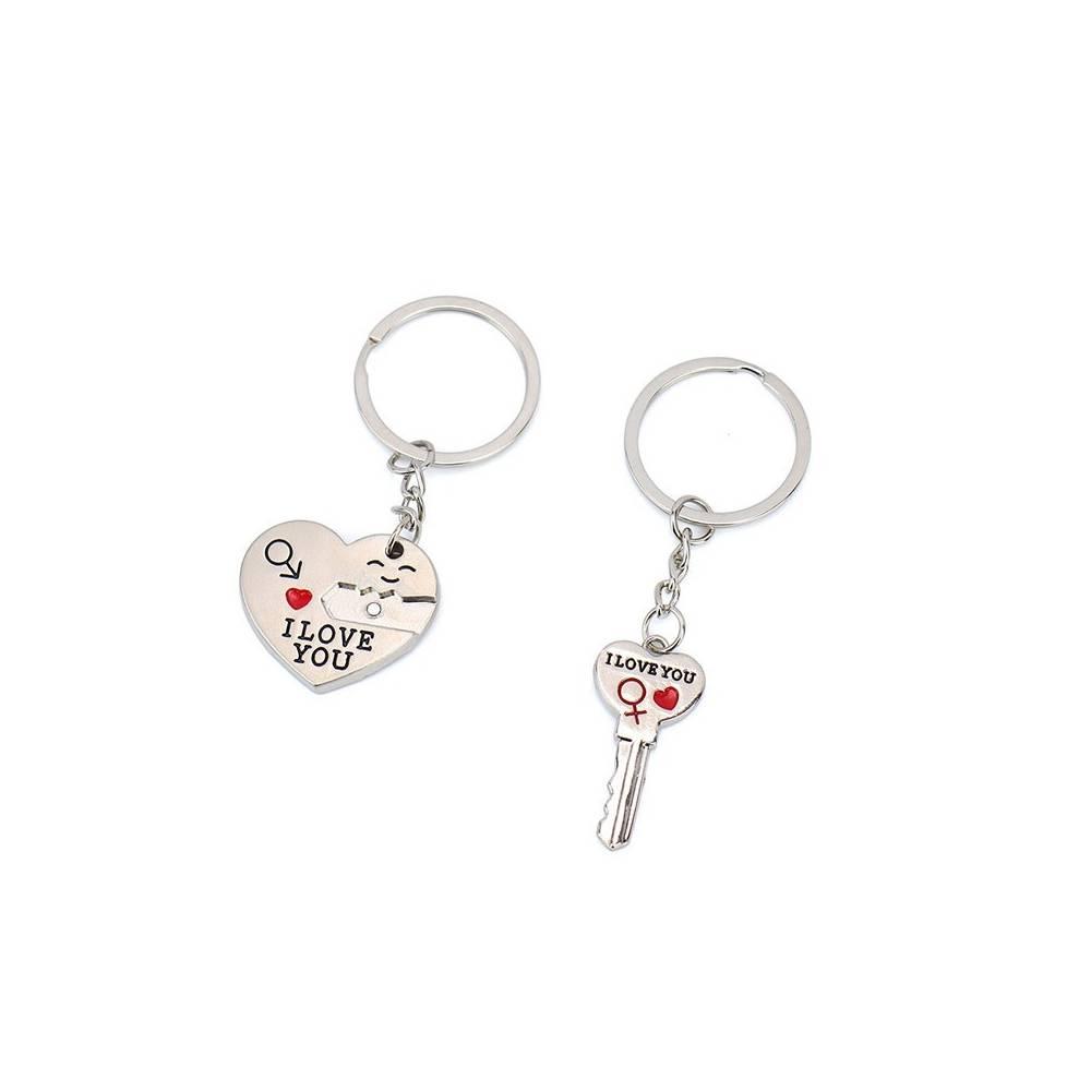 Llavero para parejas con cerradura en forma de corazón y llave