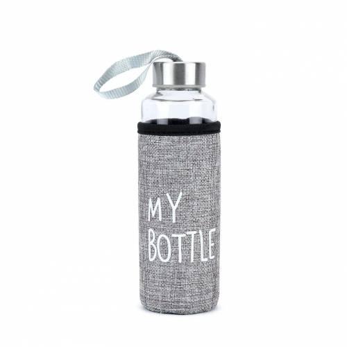 Botella portátil de cristal con funda protectora