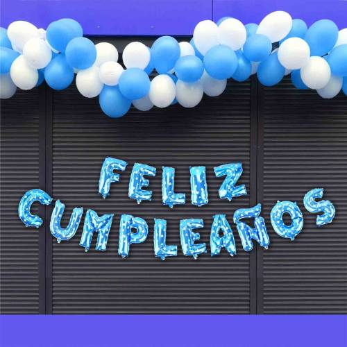 Globos metálicos para cumpleaños en color azul