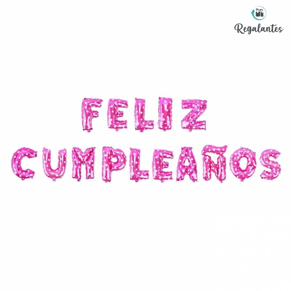 """Globos rosas """"Feliz cumpleaños"""""""