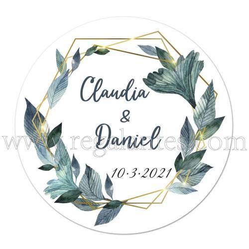 Pegatinas personalizadas con nombre y fecha para bodas - Pegatinas Y Etiquetas Personalizadas boda
