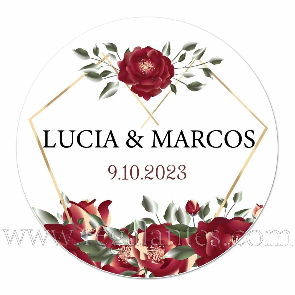 Pegatinas con flores para bodas personalizadas - Pegatinas Y Etiquetas Personalizadas boda