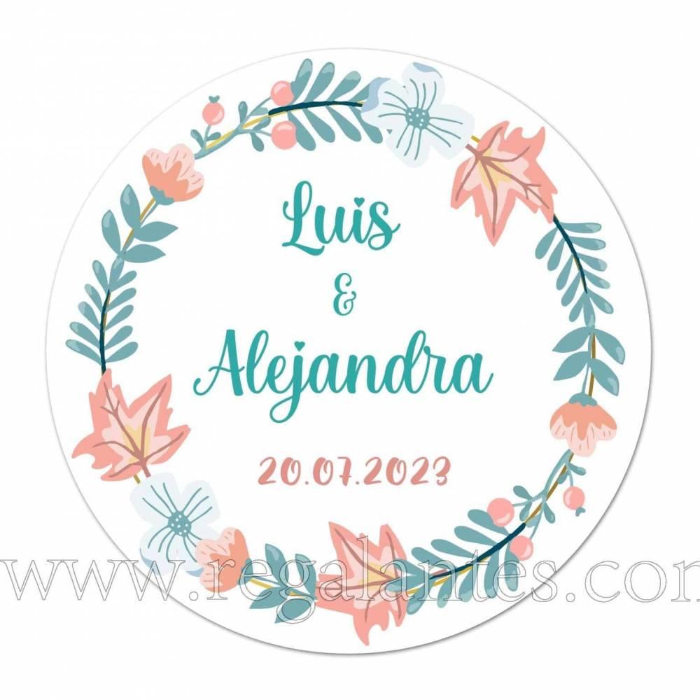 Pegatinas circulares personalizadas con flores para bodas - Pegatinas Y Etiquetas Personalizadas boda