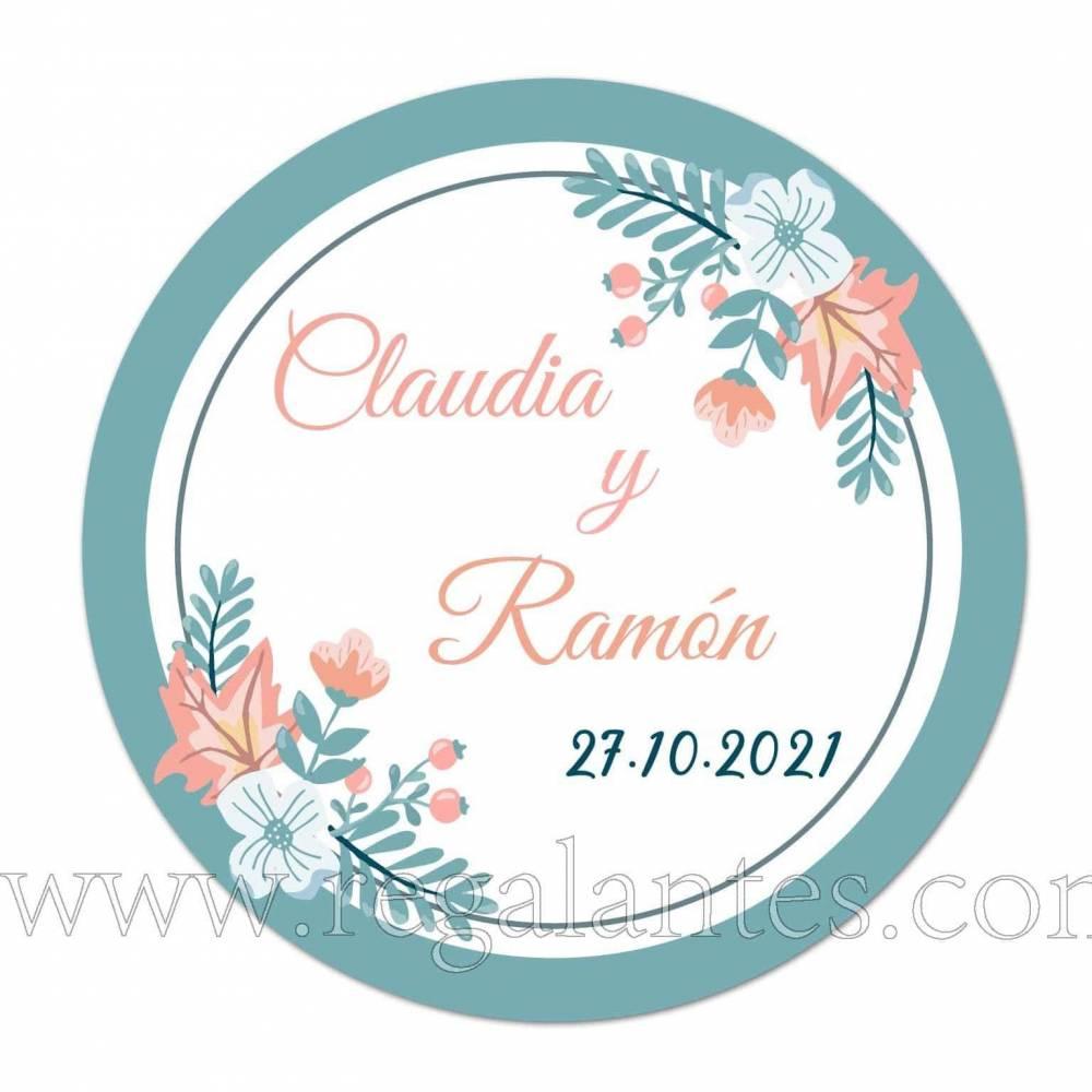Pegatinas personalizadas con diseño de flores para bodas - Pegatinas Y Etiquetas Personalizadas boda