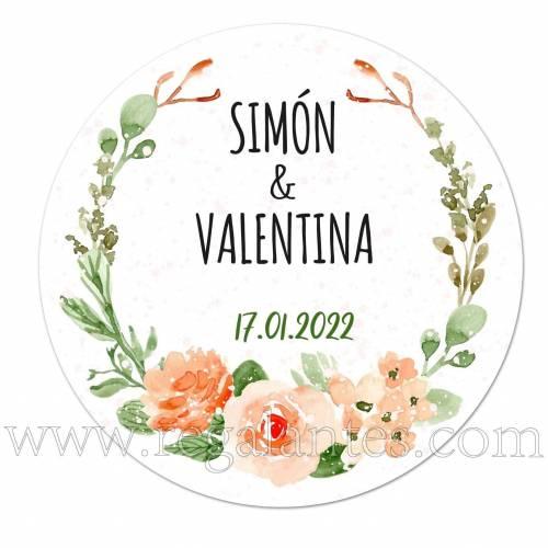 Pegatina con estampado de flores personalizada para bodas. - Pegatinas Y Etiquetas Personalizadas boda