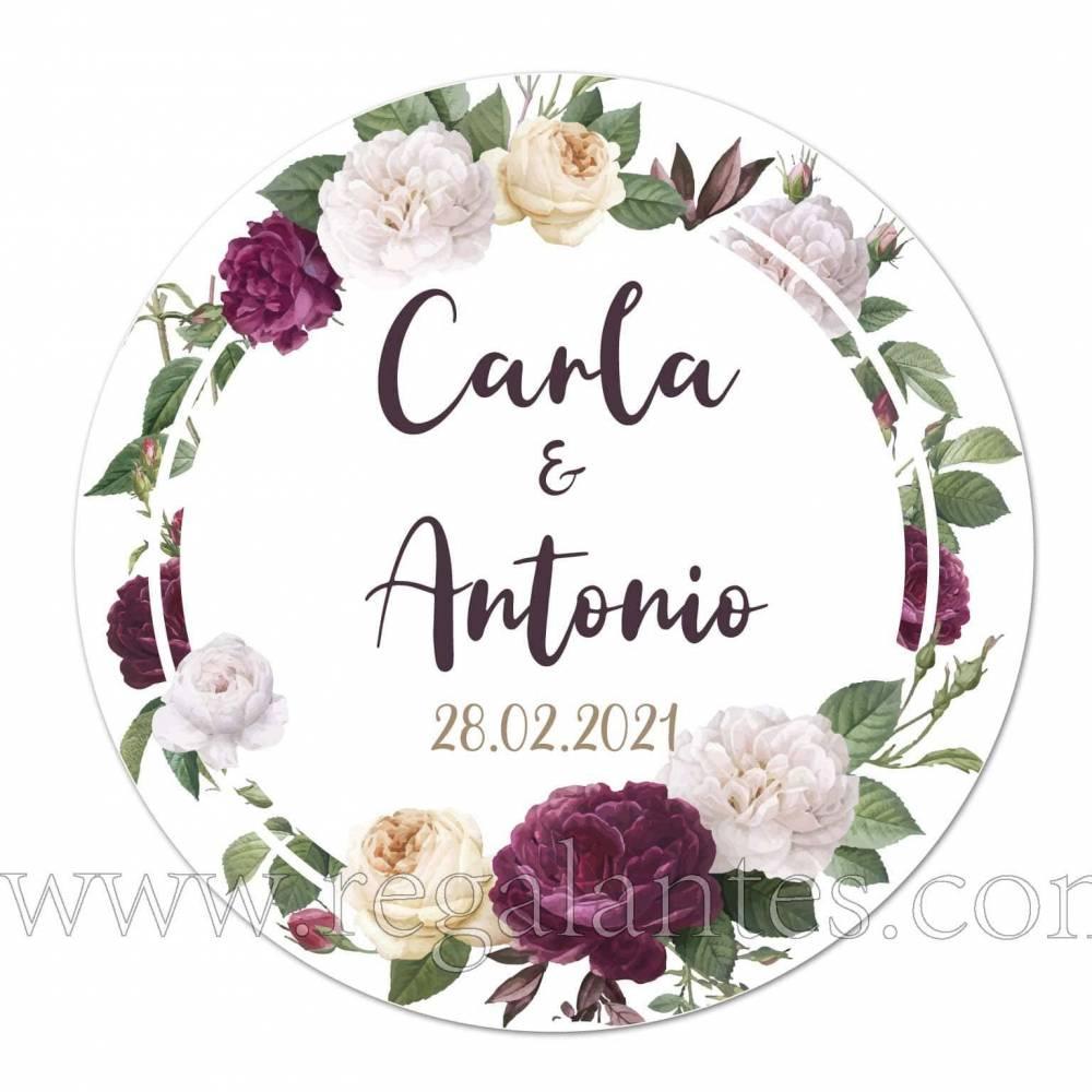 Pegatina de boda para personalizar con nombres y fecha - Pegatinas Y Etiquetas Personalizadas boda
