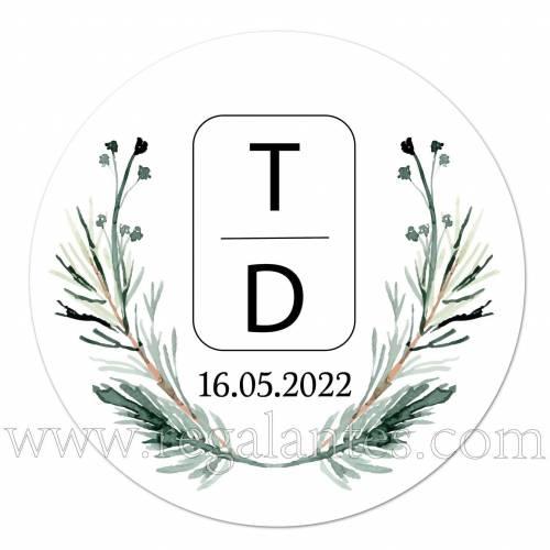 Pegatina personalizada con iniciales para bodas - Pegatinas Y Etiquetas Personalizadas boda