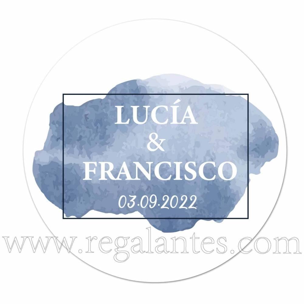 Pegatina personalizada para bodas con detalle azul - Pegatinas Y Etiquetas Personalizadas boda