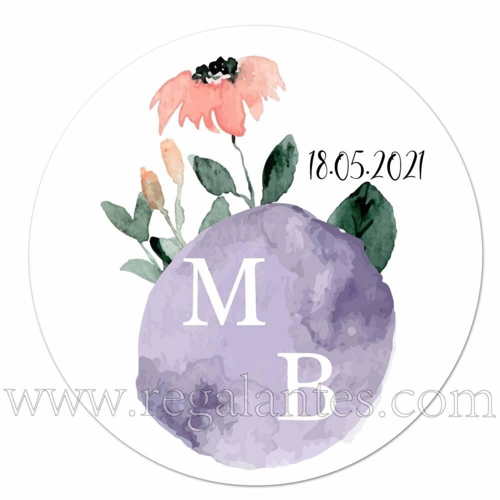 Pegatinas personalizadas de bodas con iniciales y detalle de flores - Pegatinas Y Etiquetas Personalizadas boda