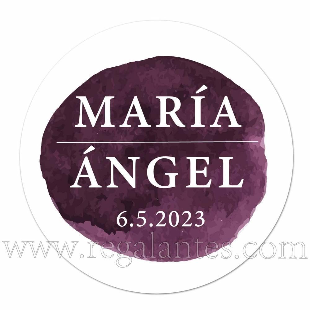Pegatina personalizada para boda con detalle de color lila oscuro - Pegatinas Y Etiquetas Personalizadas boda