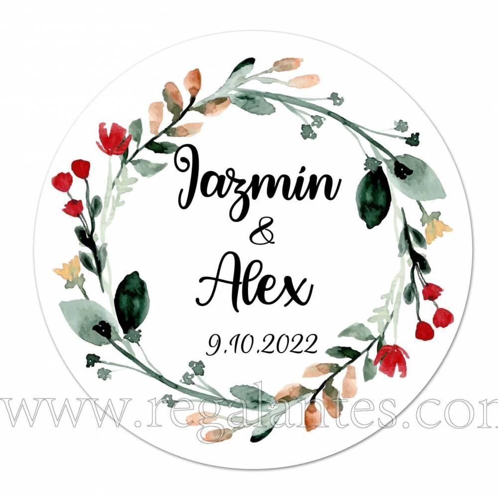Pegatinas personalizadas con dibujo de guirnalda de flores - Pegatinas Y Etiquetas Personalizadas boda