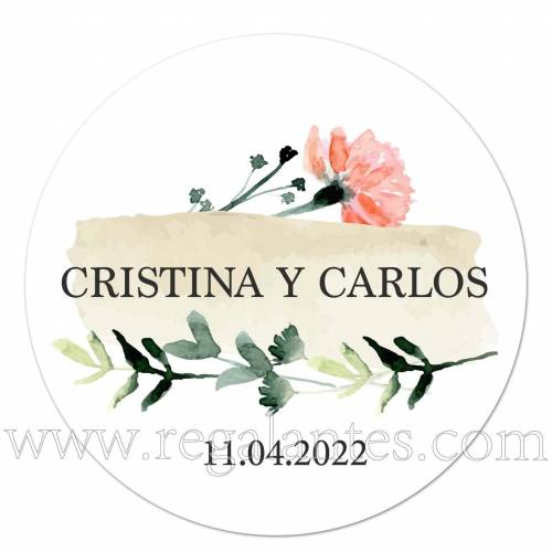 Pegatina personalizada para bodas con diseño de hojas y flores - Pegatinas Y Etiquetas Personalizadas boda