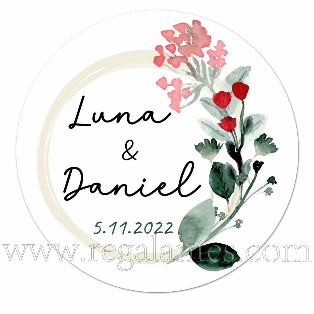 Pegatinas personalizadas para bodas con detalle de flor - Pegatinas Y Etiquetas Personalizadas boda