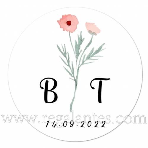 Pegatinas minimalistas personalizadas con iniciales - Pegatinas Y Etiquetas Personalizadas boda