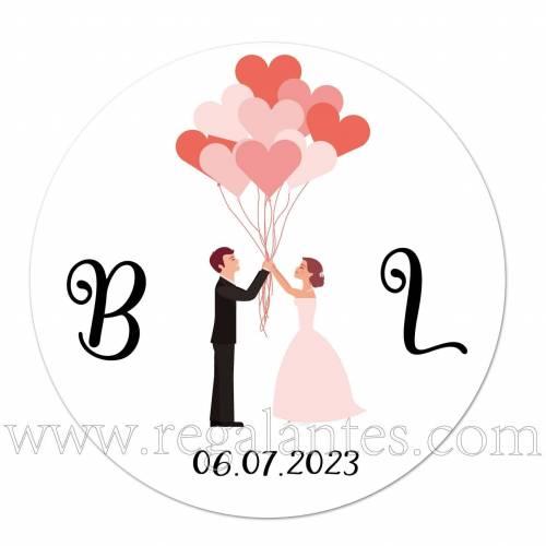 Pegatina personalizada con novios y globos - Pegatinas Y Etiquetas Personalizadas boda