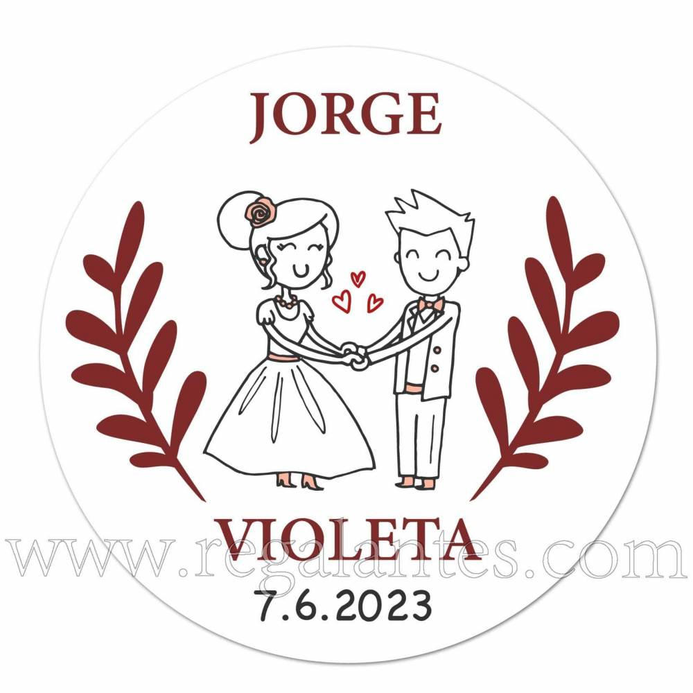 Pegatinas personalizadas con dibujo para bodas - Pegatinas Y Etiquetas Personalizadas boda