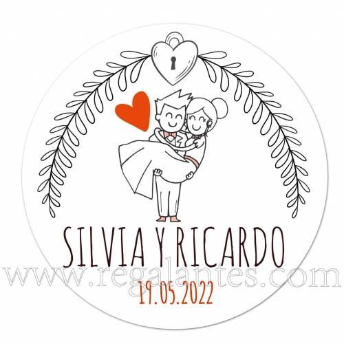 Pegatinas de novios personalizadas - Pegatinas Y Etiquetas Personalizadas boda
