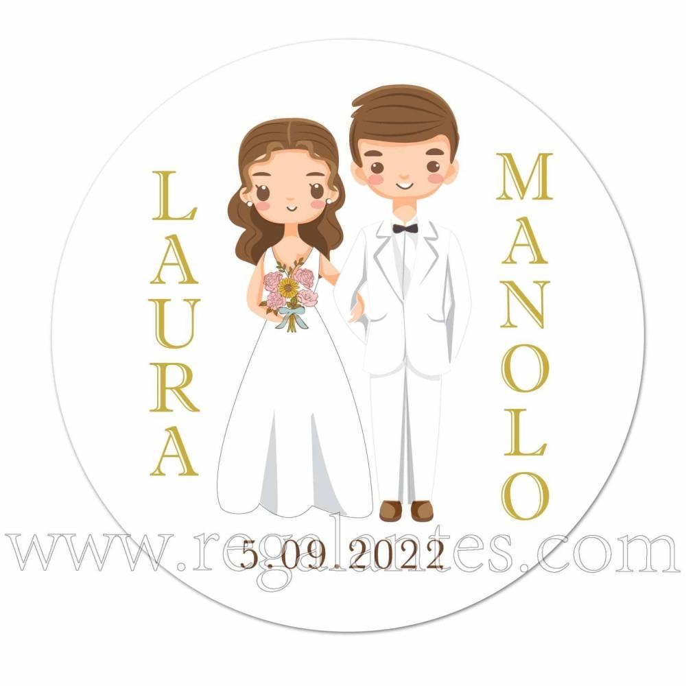 Pegatinas personalizadas con dibujo de pareja de novios - Pegatinas Y Etiquetas Personalizadas boda