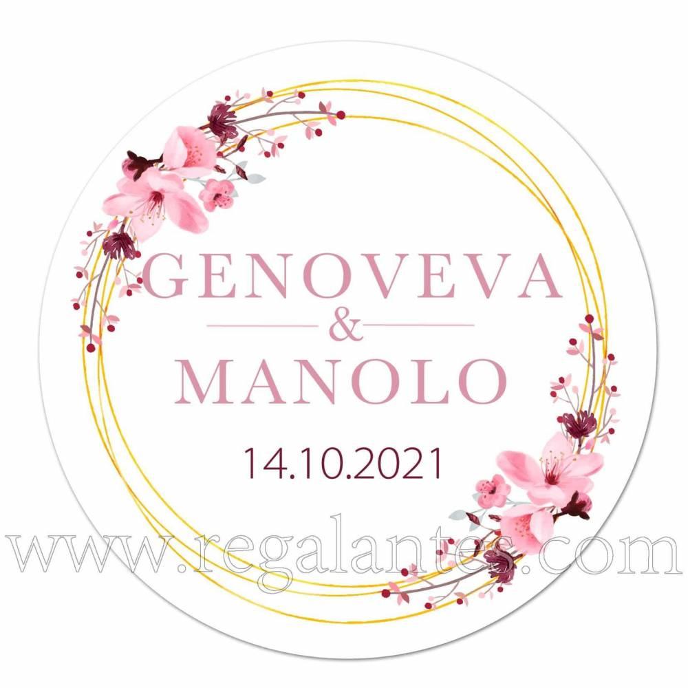 Pegatinas personalizadas para bodas con diseño de flores - Pegatinas Y Etiquetas Personalizadas boda