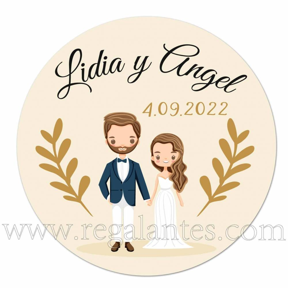 Pegatinas personalizadas para bodas con dibujo de novios - Pegatinas Y Etiquetas Personalizadas boda