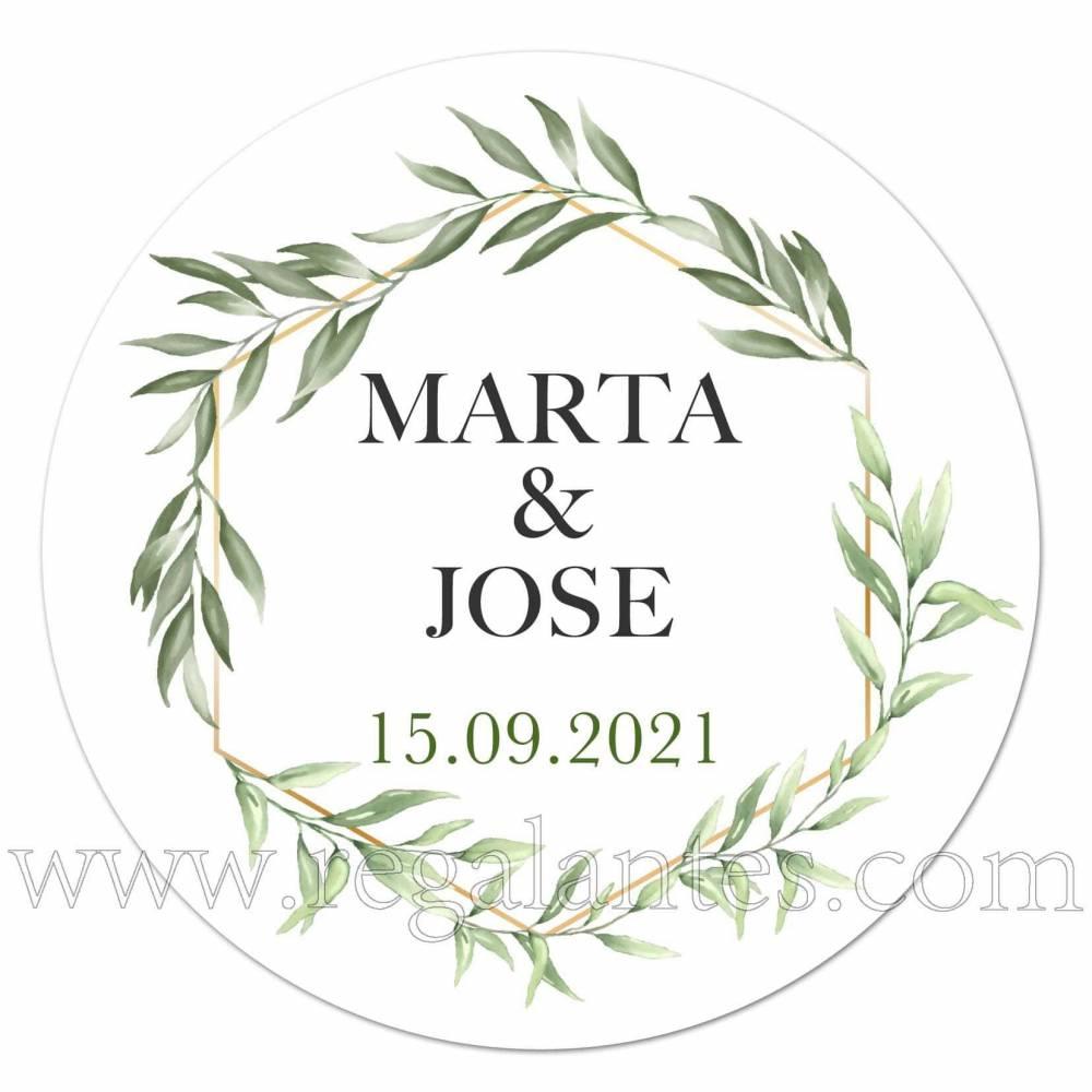 Pegatinas personalizadas para bodas con diseño de hojas en verde - Pegatinas Y Etiquetas Personalizadas boda