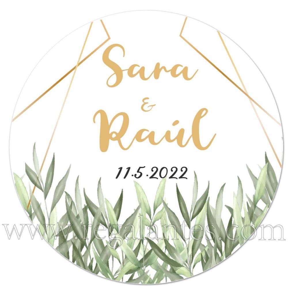 Pegatinas personalizadas para bodas con bonito diseño de hojas - Pegatinas Y Etiquetas Personalizadas boda