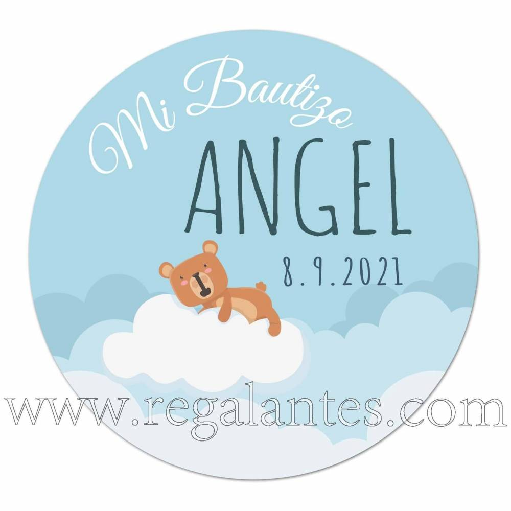 Pegatinas personalizadas con osito para bautizo de niño - Pegatinas Y Etiquetas Personalizadas Bautizo