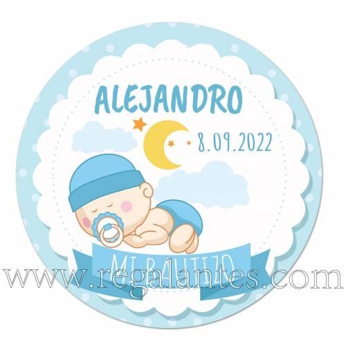 Pegatinas personalizadas de bautizo para niño con bebé durmiendo - Pegatinas Y Etiquetas Personalizadas Bautizo